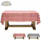 Red and White Checkered Tablecloth Polyester Picnic Table Cover Gingham Cloth
