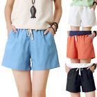 Women Loose Casual Sports Plus Size Elastic Waist Drawstring Shorts with Pockets