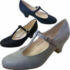 Ladies Black Grey Navy Blue Faux Suede Mary Jane Wide Fit Wedding Court Shoes