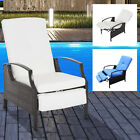 outdoor pool lounge chairs - Adjustable Wicker Recliner Cushion Chair Pool Chaise Patio Lounge outdoor