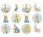 24/30/48/60/ personalised PETER RABBIT CUPCAKE TOPPERS RICE PAPER BEATRIX POTTER