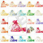 20/40/60/100pcs Organza Gift Bags Jewellery Pouches Heart Flowers 7x9cm