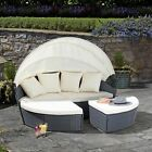Garden Gear Rattan Daybed Furniture Outdoor Patio Lounger Bed Sofa & Canopy Set
