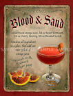 BLOOD & SAND COCKTAIL:RETRO STYLE :HOME BAR:METAL SIGN :3 SIZES TO CHOOSE FROM