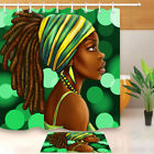 Afro Hairstyle African American Black Woman Shower Curtain &Bathroom 12Hooks Set