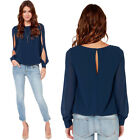 Women Solid Color Tops Blouse Casual Chiffon Cut Off Long Sleeve T-shirt Fashion