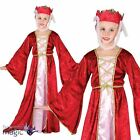 Girls Medieval Princess Queen Maid Marian Juliet Fancy Dress Costume Outfit Red