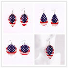 American Flag Pu Leather Earrings Usa Stars & Stripes Double Layer Leaves Bijoux