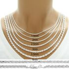 925 Sterling Silver Dia-Cut Rope Chain Necklace w Lobster Lock-Stamped 925 Italy