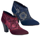 Ruby Shoo Nicola Ankle Boots sz 3 - 8 Blue / Wine Faux Suede & Pattern Panel