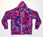 Adult Tie Dye Zip Hoodie Pink & Purple Spiral Zipper Sweatshirt Grateful Dead
