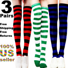 3 Women Stocking Socks Soccer Cable Strip Over Knee Long Sport Gym Thigh High US