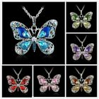 Women Crystal Rhinestone Enamel Butterfly Animals Pendant Necklace Chain Jewelry image
