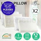 2x Natural Foam Latex Pillow Plush Velour Cotton Sleeping Zip Cover Bed