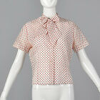 L 1960s White Short Sleeve Blouse Red Polka Dots Pussy Bow Separates Casual 60s