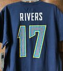 New Philip Rivers #17 LA Chargers Adult T-shirt in Blue Los Angeles Men's Shirt $11.69 USD on eBay