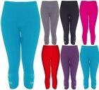 Plus Size Womens 3/4 Soft Stretch Butterfly Embellished Diamante Sequin Leggings