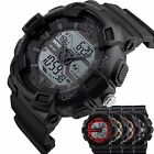 Men's Waterproof Military Sport Stopwatch Alarm Digital Analog Round Wrist Watch image