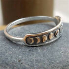 Silver Crescent Moon Phase Band Stackable Ring. Boho Gypsy Jewellery