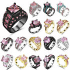 New  Size 7 Square pink Wedding Ring white Black gold Rhodium Plated Women's Gift