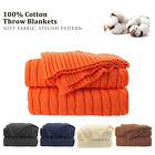 100% Cotton Knit Throw Blanket Soft Warm Cable Knitted Throw Decorative Blankets image