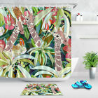 Fabric Shower Curtain Set 3 Giraffe In Tropical Forest Ainmal Bathroom Accessory