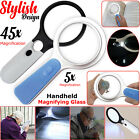 Handheld 45X 5X Magnifier Reading Magnifying Glass Jewelry Loupe With LED Light