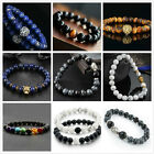 Men Women Natural Gemstone Beads Lava Rock Stone Bracelet Lion/Buddha Head Bead image
