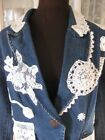 Trendy Jean Jacket BLAZER  with Lace Crochet Accents Unique New  sz  M or L