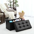 Foldable Tufted Large Storage Ottoman Bench Foot Rest Stool/Seat - 15 x 30 x 15