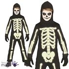 Childs Glow In The Dark Skeleton Jumpsuit Halloween Fancy Dress Costume Outfit