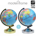 World Globe 4-Way Touch Table Desk Lamp Top Control Light Up in Brass or Chrome