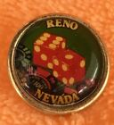 Reno Nevada Dice Hat Lapel Pin Tie Tac Made in New Zeland