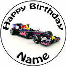 "Personalised Birthday Fomula 1 - Red Bull Round 8"" Easy Precut Icing Cake Topper"