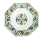 """12"""" Marble Cofffee Table Top Side Inlaid Floral Pietra Dura Art Furniture H1154"""
