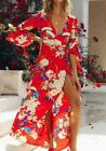 women print maxi dress lady spring holiday beach evening party floral dress