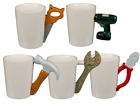 Ceramic Mug with Tool Handle - Hammer Spanner Joiner Mechanic Workman Gift