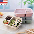 3 Girds Healthy Wheat Straw Student Lunch Box Food Container Bento Box Fork US