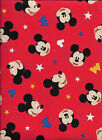Disney Mickey Mouse Traditional Head Toss on Red 100% Cotton Fabric by the Yard