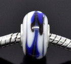 Lot 270 White Navy Blue black Lampwork glass bead charms jewelry bracelet ch97