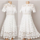 NEW Forever 21 Ivory Crochet Floral Lace Scallop Edge Cocktail Party Midi Dress
