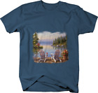 Two White Beach Chairs on Dock Lake House Wilderness Nature T-shirt