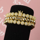 2018 Luxury Men's Micro Pave CZ Ball Crown Braided Adjustable Bracelets Gifts