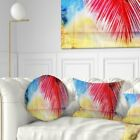 Designart 'Retro Palm Leaf Watercolor' Trees Painting Throw Pillow