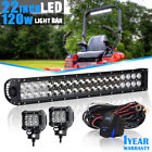 22INCH 120W Led Light Bar Flood Spot For Jeep Ford Truck UTE F-250 F-350