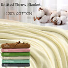 "Soft Warm 100% Cotton Solid Decorative Knitted Throw Blanket for Couch 50""x 60"" image"