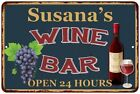 Susana's Green Wine Bar Wall Décor Kitchen Gift Sign Metal 112180043565