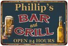 Phillip's Green Bar and Grill Personalized Metal Sign Wall Decor 112180044743