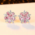 Cute 925 Silver Pink Topaz Cross CZ Sakura Flower Stud Earrings Wedding Jewelry image