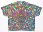 Adult S/S TIE DYE Neon Rainbow Blotter plus size T Shirt art 5X 6X hippie trippy